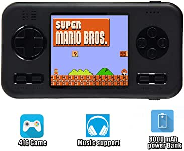 Womdee Handheld Gaming Consoles, Gameboy Advance Playstation Portable, Game Machine - Built in 416 Classic Games & 8000mAh Battery, 2.8 inch Screen Handheld Game Machine for Adult Kids (Black)