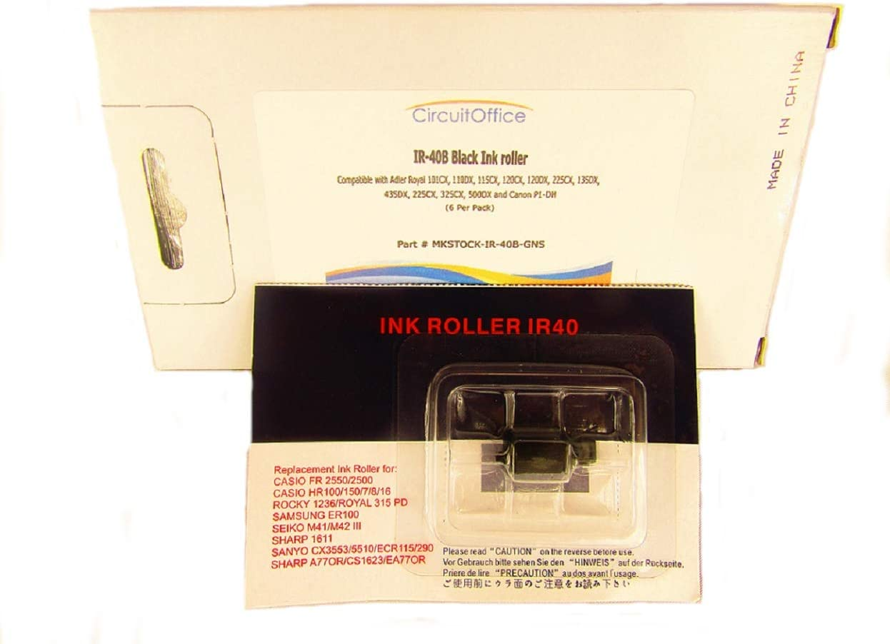 6 Pack Compatible Calculator Printer Nu-Kote NR40 IR40B IR-40 IR-30 Black Ink Roller Ribbon, Works For Adler Royal 225, 135DX, 435DX, 325CX, 500DX, Canon P1-DH, Sharp EA-770R, Canon CP16, PR40, VPR40