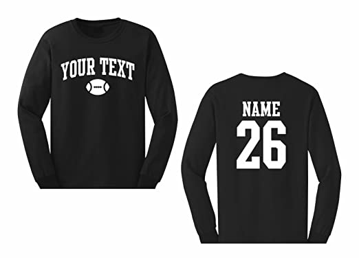 9ad6e041 Men's Custom Personalized Long Sleeve T-shirt, Football Arched text, Back  Name &