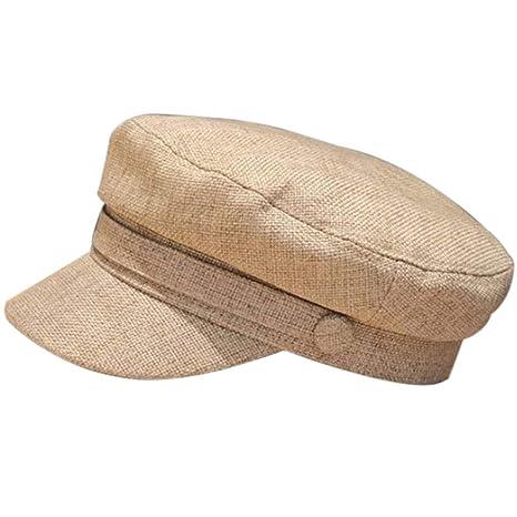 Gorra de algodón y lino, estilo retro de Breton Beret, estilo ...