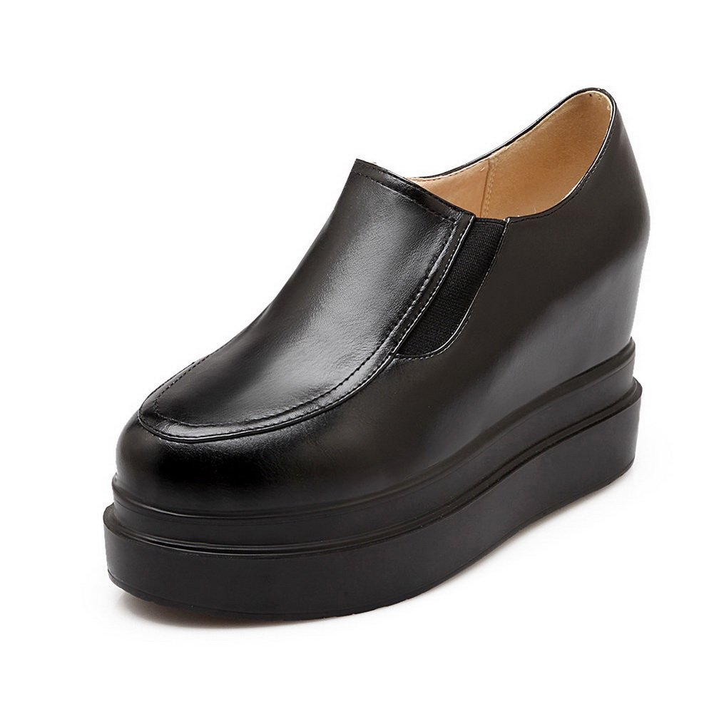 BalaMasa Girls American Muffin Buttom Round-Toe Black Imitated Leather Pumps-Shoes - 8 B(M) US