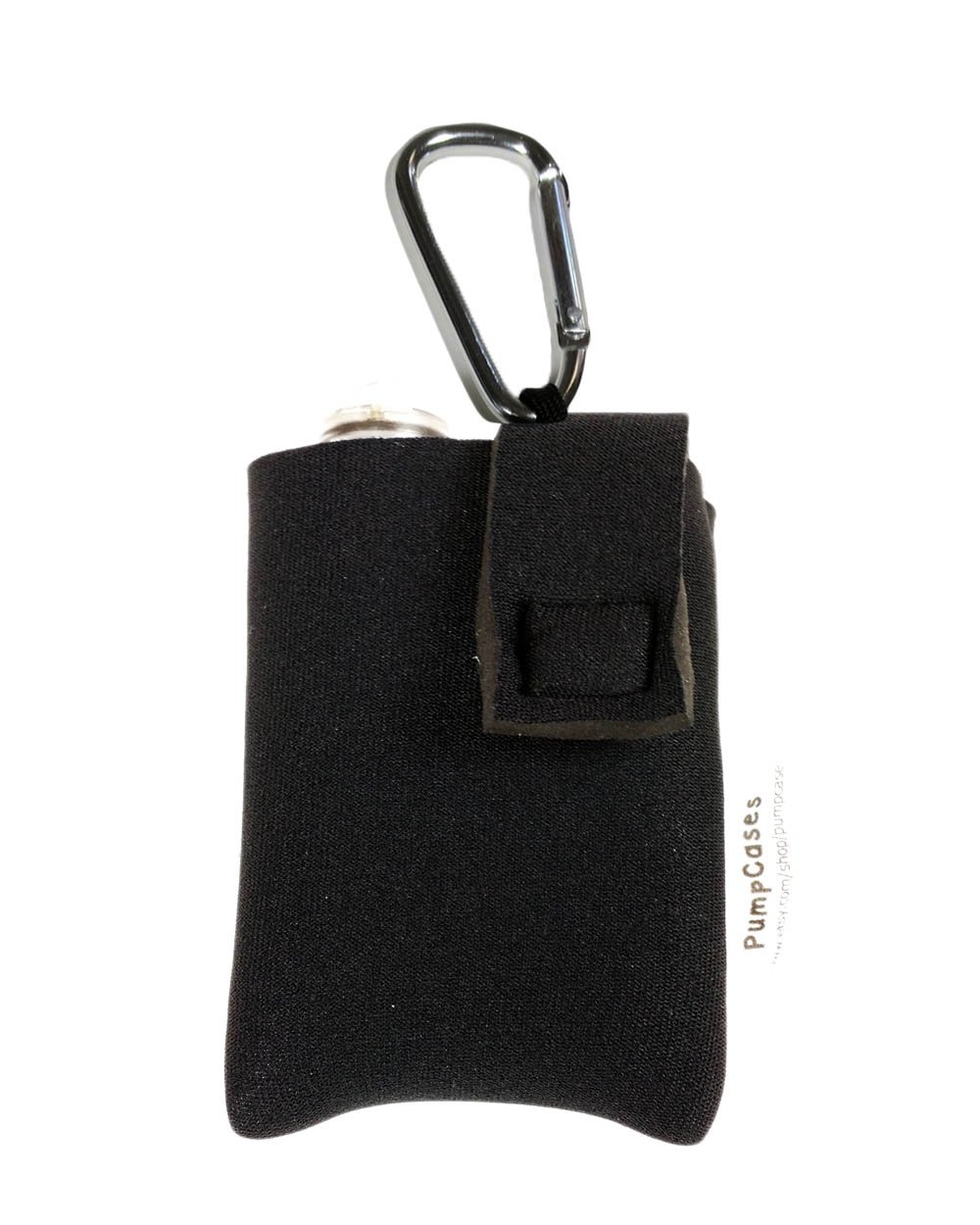Black 4mm Insulated Neoprene Diabetic Insulin Pump Case (t:slim, Black w/ Clip)