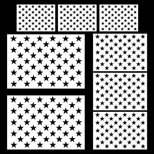Petift 8 Pieces Star Stencil Template 50 Stars American Flag Template for DIY Making American Flags and Painting on Wood, Fabric, Paper, Glass and Wall Art, 2 Large, 3 Medium -