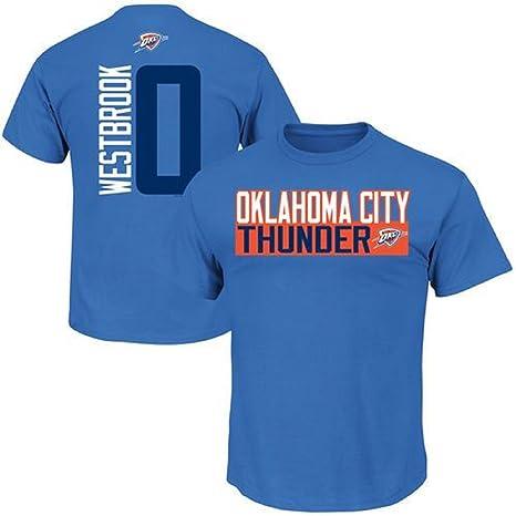 ce246dab1 Russell Westbrook Oklahoma City Thunder  0 NBA Men s Vertical Player T-shirt  (XXL