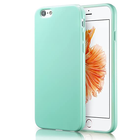 promo code 00865 2f895 iPhone 6S Mint Case, technext020 Shockproof Ultra Slim Fit Silicone Green  TPU Soft Gel Rubber Cover Shock Resistance Protective Back Bumper for  iPhone ...