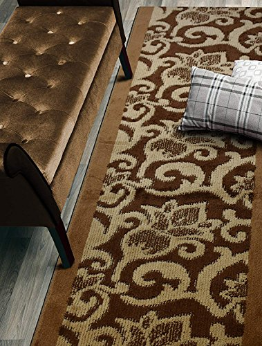 (Custom Cut Hallway Runner Rug, Slip Resistant, 31 Inch Wide X Your Choice of Length, Lily Brown, 31 Inch X 12 feet)