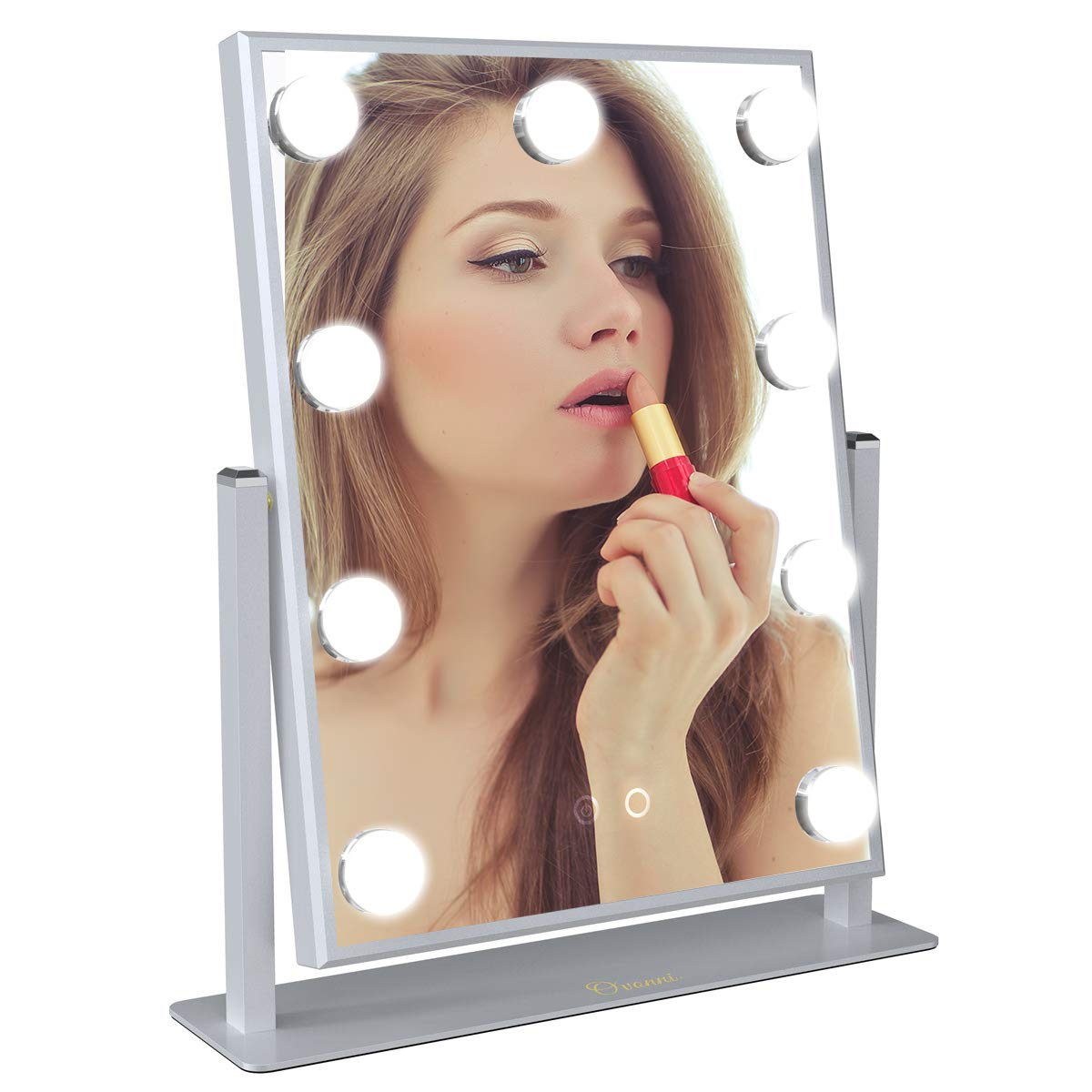 Ovonni Vanity Hollywood Makeup Mirror with 9 LED Lights, 2 colors Dimmable Lighted Tabletop Cosmetic Mirror with Touch Control, Silver