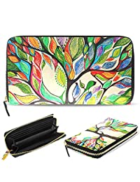 Womens Wallet Marble Tree of Life Halloween Purse Long Clutch Bag Card Holder