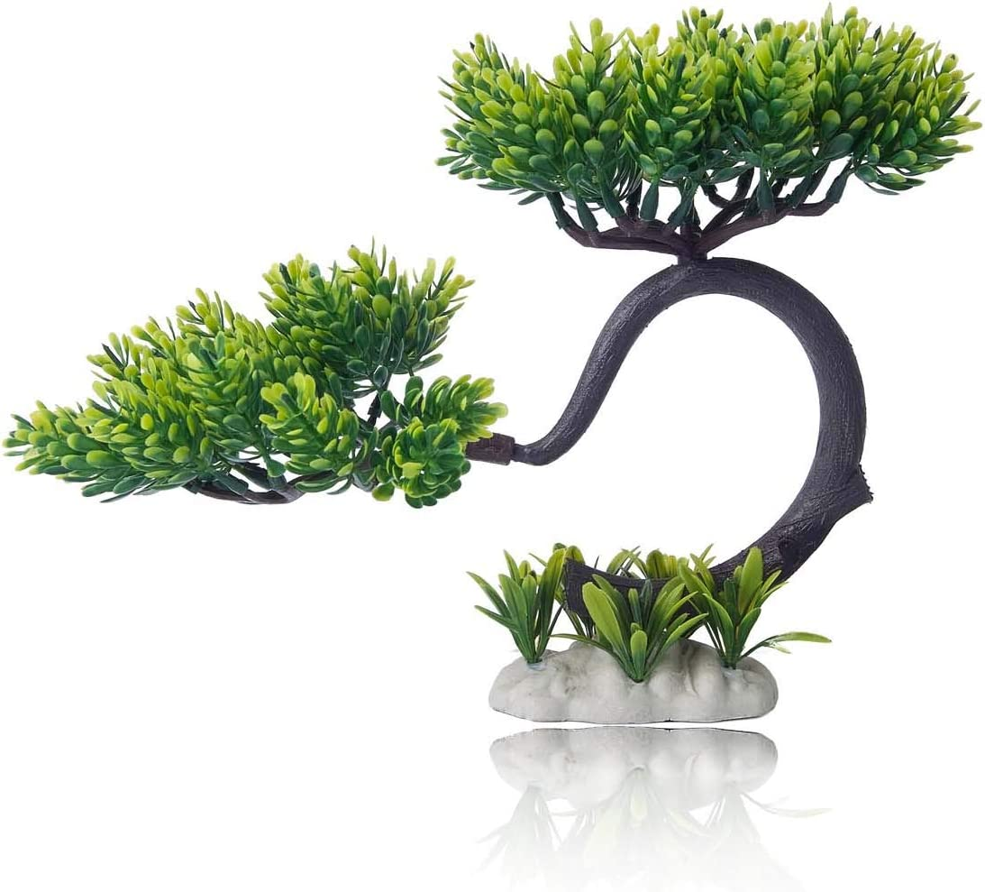 HITOP Pets Plastic Plants for Fish Tank Decorations Unique Artificial Aquarium Decor Pine Tree