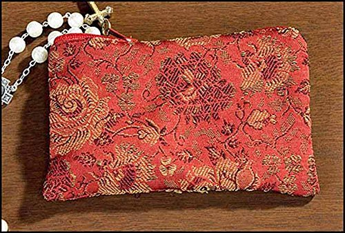 Zippered Rosary Case - Red Rose Brocade Rosary Case with small cross zippered dangle charm (MC942/single unit)
