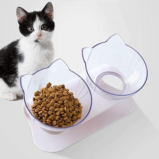 JINQD 15 ° Plataforma inclinada Comedero doble para gatos, comida ...