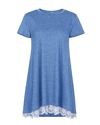 812ff2e9c077 Tunique Femme Tee Shirt Blouse Dentelle Manches Courtes Robe Ample Trapeze  Chemise Femme Long Été Top