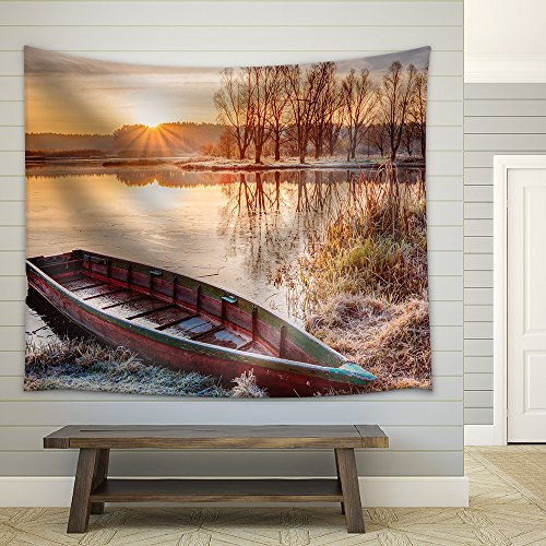 Calm Water of Lake River and Rowing Fishing Boat at Beautiful Sunrise in Autumn Morning Fabric Wall