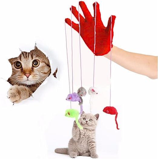 armundo Gatos parte Guante Con 5 Ratones Guante gato juguete juguete Ratones Ratón interactivo juguete para gatos mäuses baño.: Amazon.es: Productos para mascotas