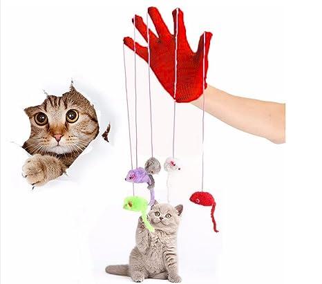 armundo Gatos parte Guante Con 5 Ratones Guante gato juguete juguete Ratones Ratón interactivo juguete para