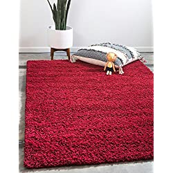 Unique Loom Solo Solid Shag Collection Modern Plush Cherry Red Rectangle (4' x 6')