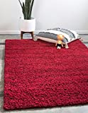Unique Loom Solo Solid Shag Collection Modern Plush Cherry Red Rectangle...
