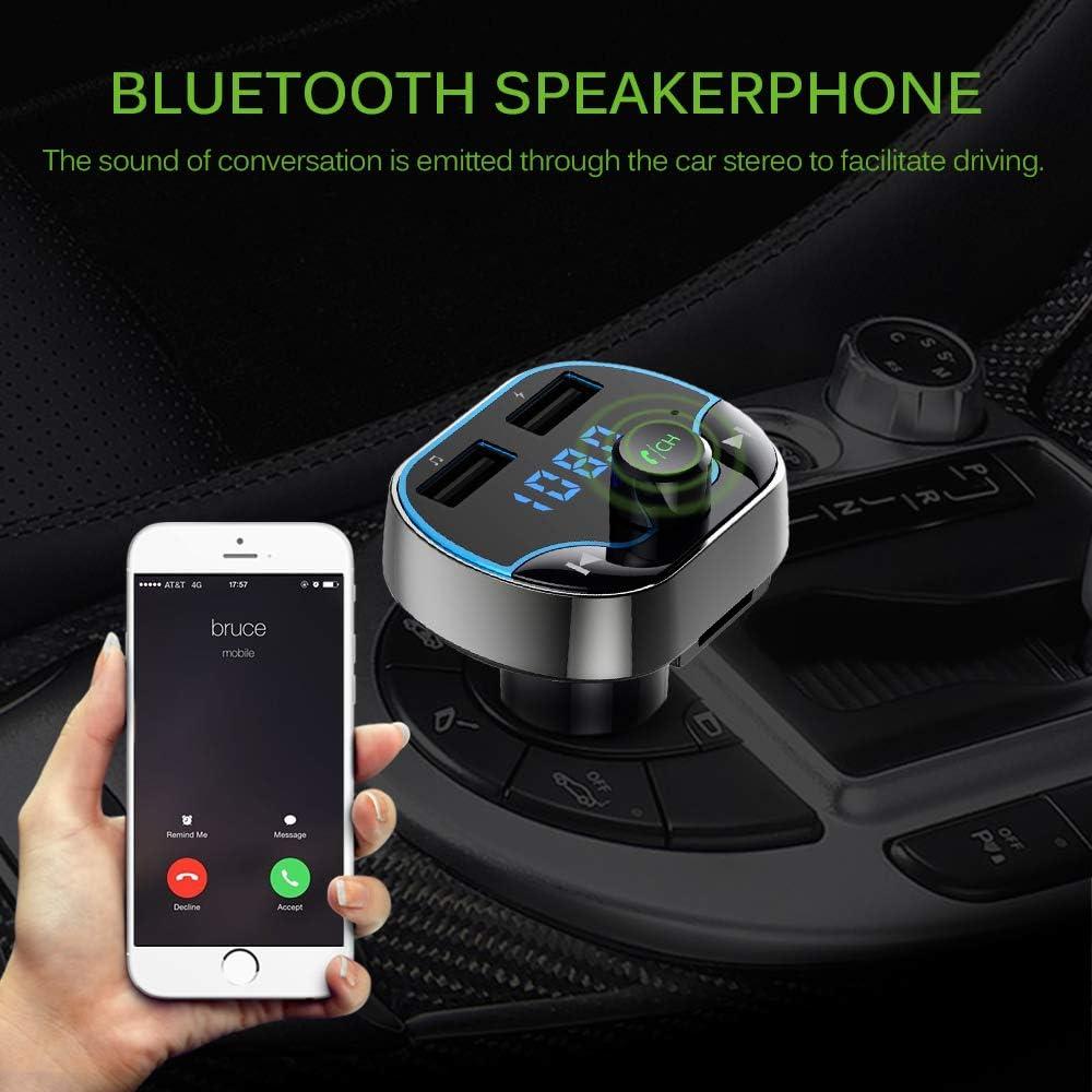 TTAototech T10 Transmisor FM Bluetooth Reproductor MP3 multifunci/ón Coche con Puertos USB de Carga el Apoyo TF Tarjeta Manos Libres Funci/ón de Llamada