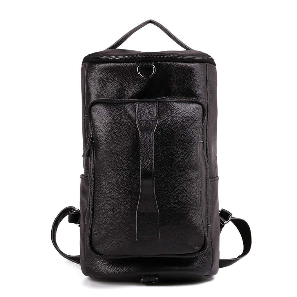 メンズバックパックレザートラベルバッグ防水大容量、カジュアルレトロファッション荷物バッグ (色 : 黒)  黒 B07MXGYLZS