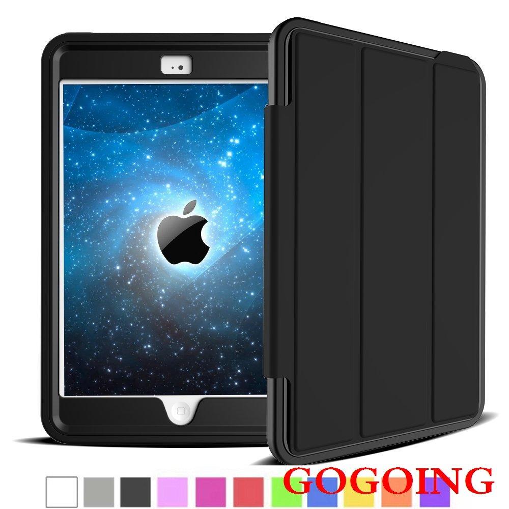 iPad Mini 4ケース、GOGING [フリップシリーズ]衝撃吸収/ High Impact Resistant Heavy Duty Defenderフルボディ保護スマートカバーケースfor Ipad Mini 4 ipad mini 4 5042009 ipad mini 4 ブラック-ブラック B01ABJ8A88
