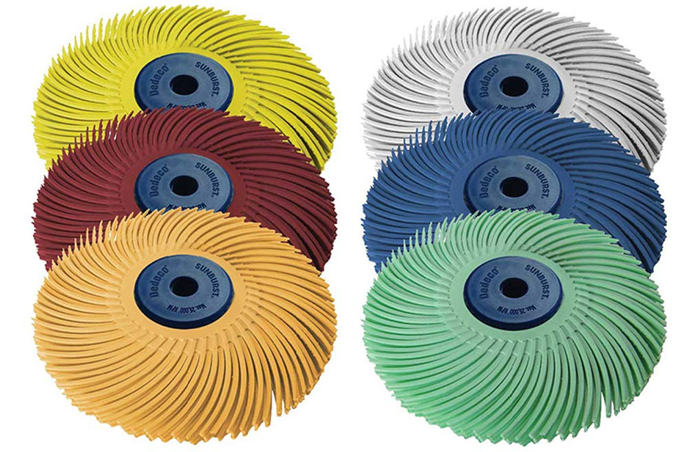Dedeco Sunburst - 3 Inch TC 3-PLY Radial Bristle Discs - 1/4 Inch Arbor - Industrial Thermoplastic Rotary Cleaning and Polishing Tool Set, Assorted: 1 of Each 6 Grit Textures (6 Piece)