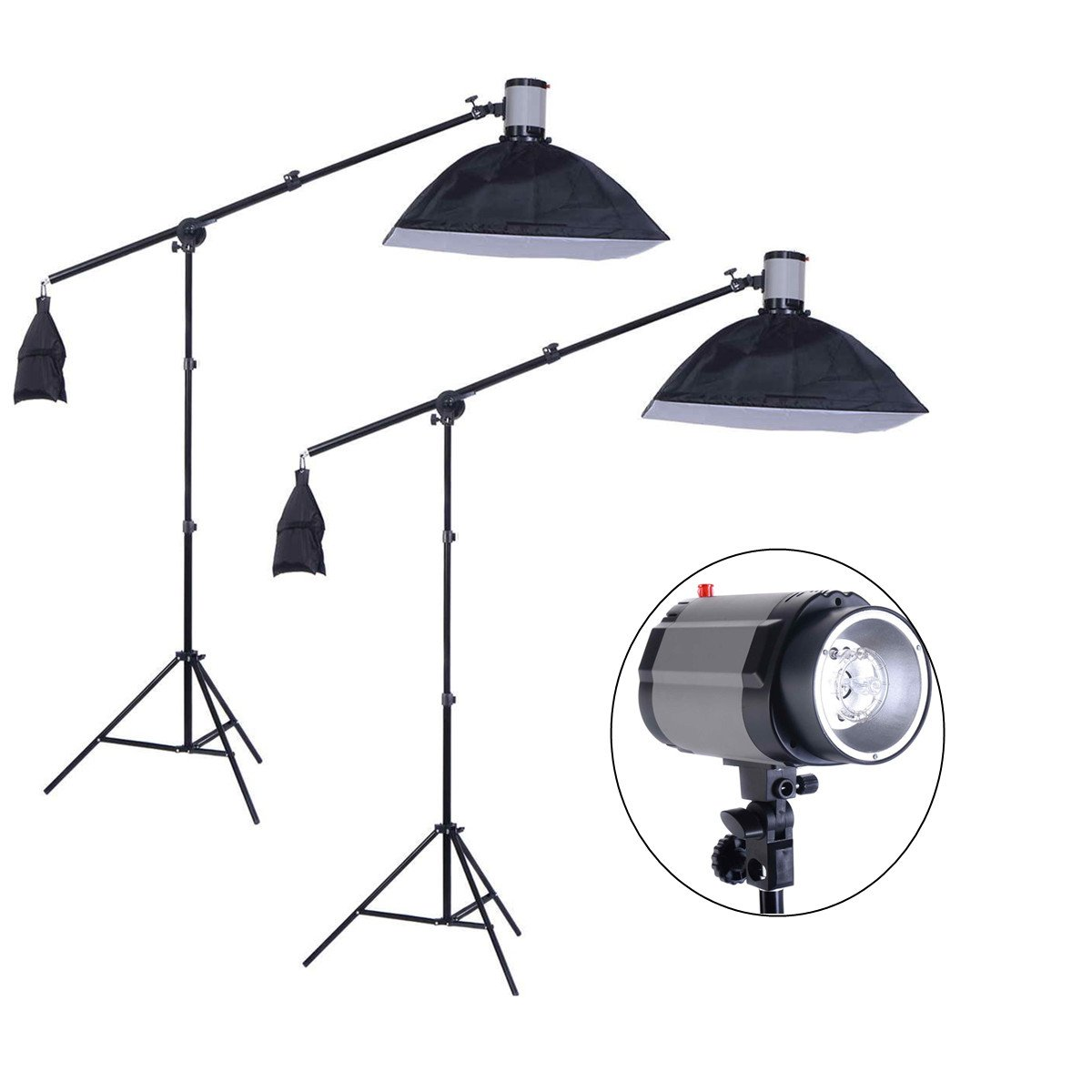 Safstar Professional Photo Studio Strobe Monolight Lighting Kit for Video Shooting, Location and Portrait Photography - 2 x Overhead Boom Light Kit, 2 x Softboxes, 1 x Carrying Bag by S AFSTAR