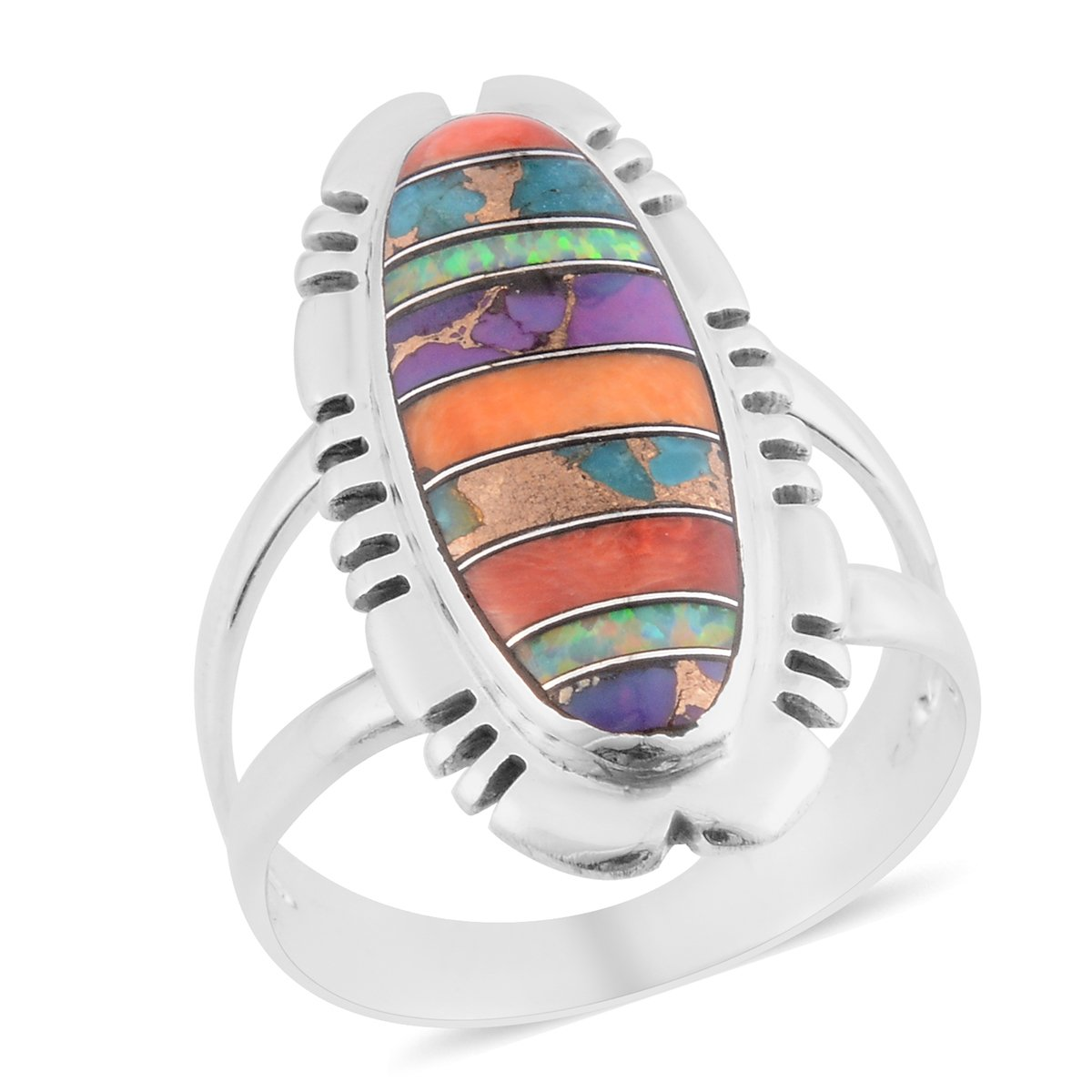 925 Sterling Silver Fancy Turquoise, Purple Fashion Ring for Women Size 10