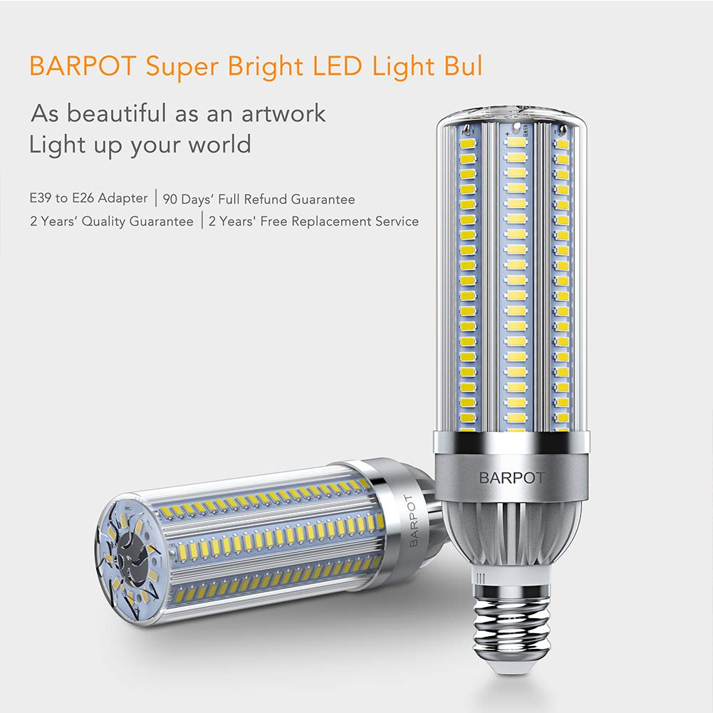 50Watt BARPOT LED Corn Bulb 5500 Lumen 6500K Cool Daylight,E26 to E39 Mogul Base Adapter,for Large Area Lighting Outdoor Indoor Garage Warehouse High Bay Barn Backyard and More 370 Watt Equivalent