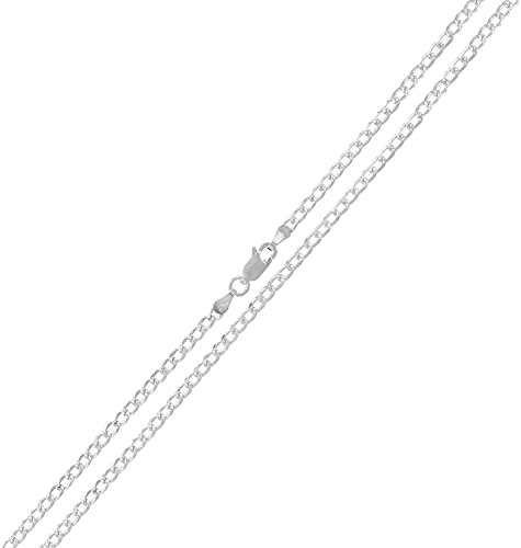 925 Sterling Silver 2mm Solid Cuban Gold Diamond Cut ITProLux Chain Necklace