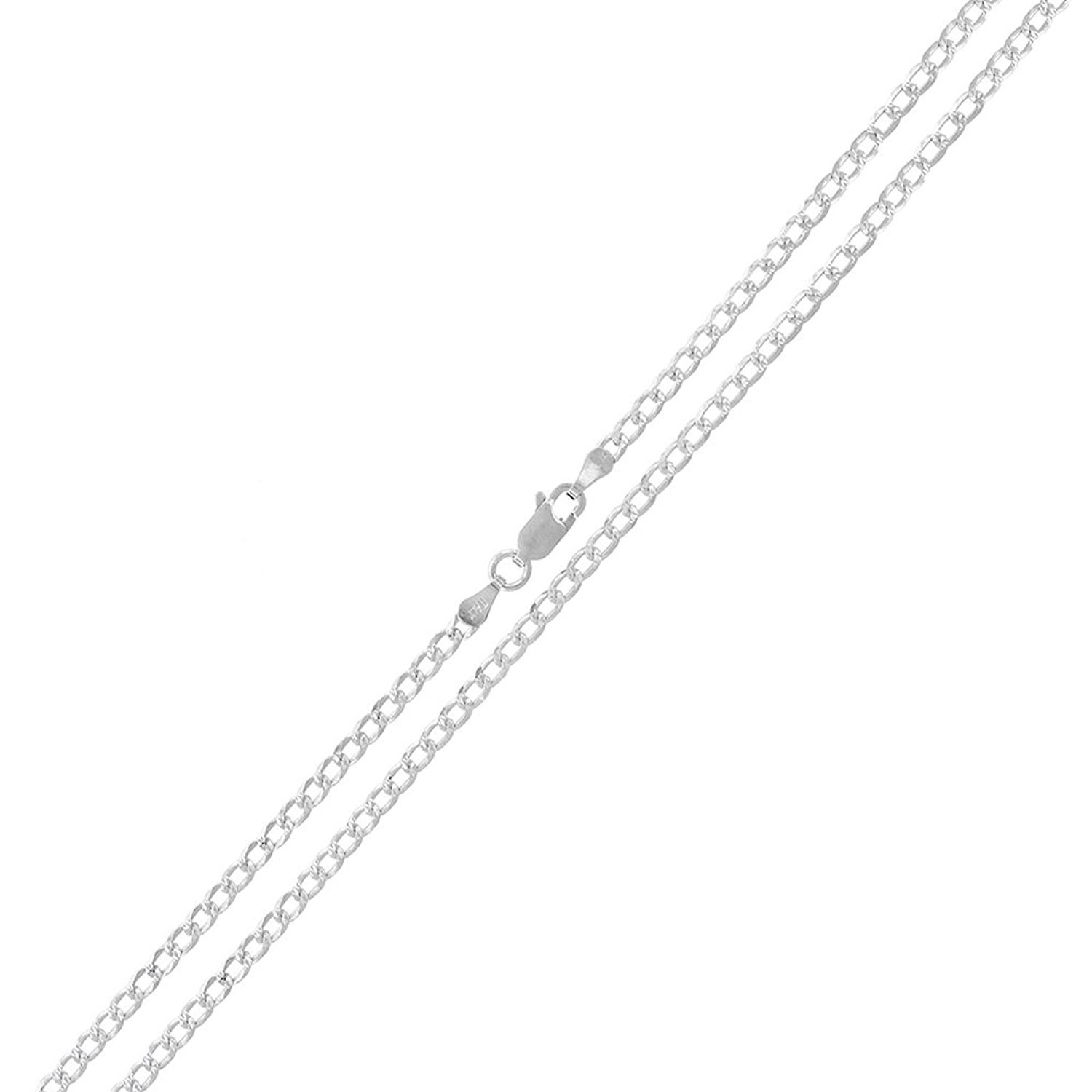 Sterling Silver Italian 2mm Cuban Curb Link Diamond-Cut ITProlux Solid 925 Necklace Chain 16'' - 30'' (28)