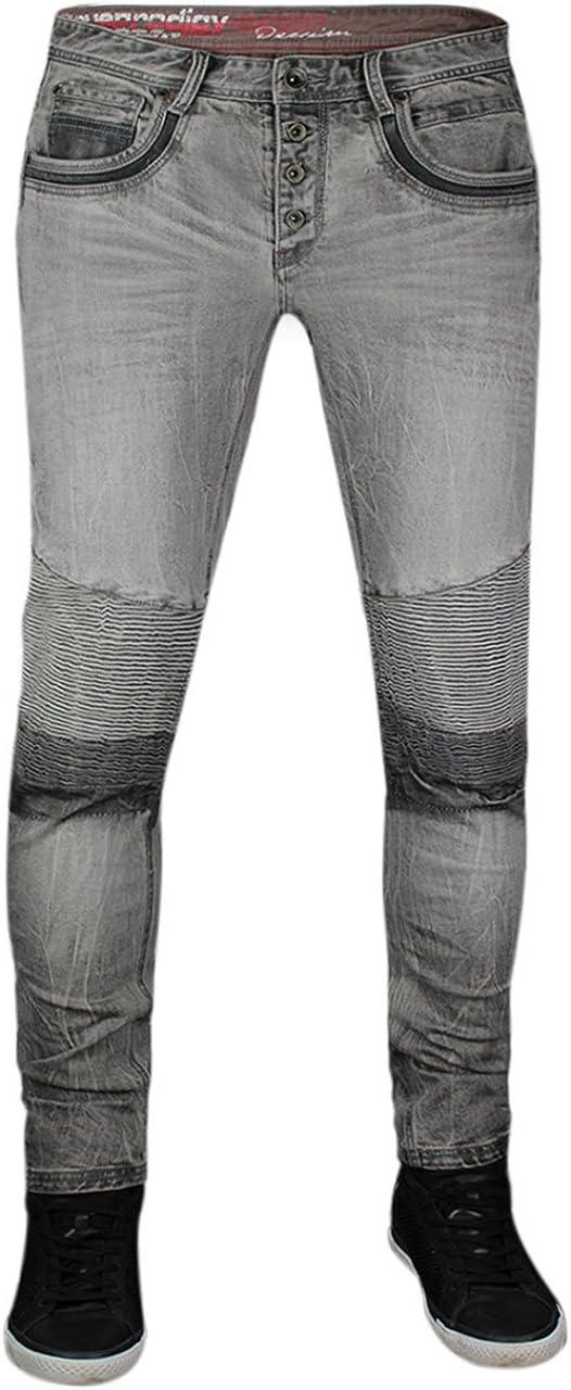 TALLA 34W / 32L. trueprodigy Casual Hombre Marca Jeans Pantalon Elastica Ropa Retro Vintage Rock Vestir Moda Deportivo Vaquero Slim fit Designer Cool Urban Fashion Tejanos Denim Color Gris 6272101-2055