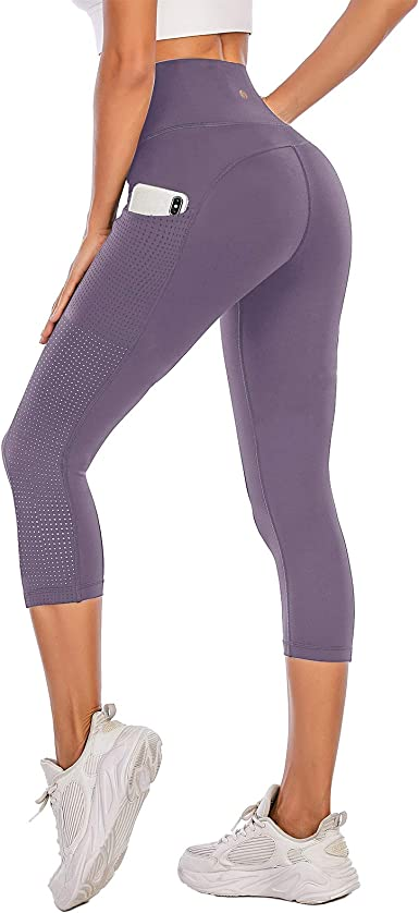 PARWIN High Waist Yoga Capris for Women Workout Leggings with Pockets - Breathable Mesh