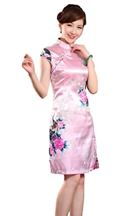 3734618d26a6 Women's Mini Chinese Dress Cheongsam [Red/Blue] Mandarin Gown Qipao China  Dress (