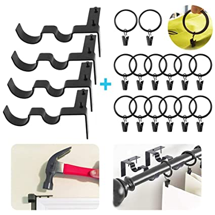2 Pair Double Curtain Rod Brackets No Drill Adjustable Hang Curtain Rod Holders For 1 5 8 Rods Tap Right Into Window Frame 14 Pieces 1 5 Inch