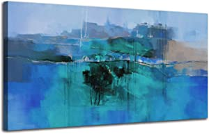 """Canvas Wall Art Dark Blue Abstract Countryside Landscape Painting Rustic House Along the Road Picture Prints, Large Size 48""""x24"""" Artwork Framed for Living Room Bedroom Home Office Wall Decor"""