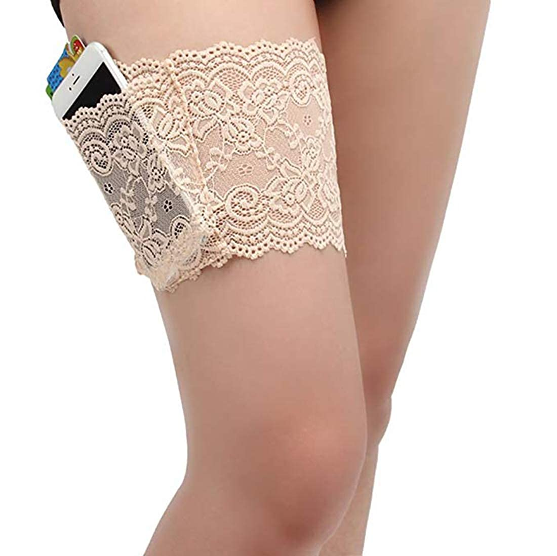 CAREOR Thicken Womens Lace Non-Slip Concealed Thigh Holster Thigh Garter with 4 Small Purse Phone Security Pockets
