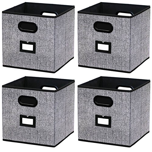 Onlyeasy Cloth Storage Bins - Foldable Basket Cubes Organizer Container Drawers with Dual Handles for Shelves Closet Nursery Organization, 10.5x10.5x11 in, 4 Pack Black, 8MXABS04PL