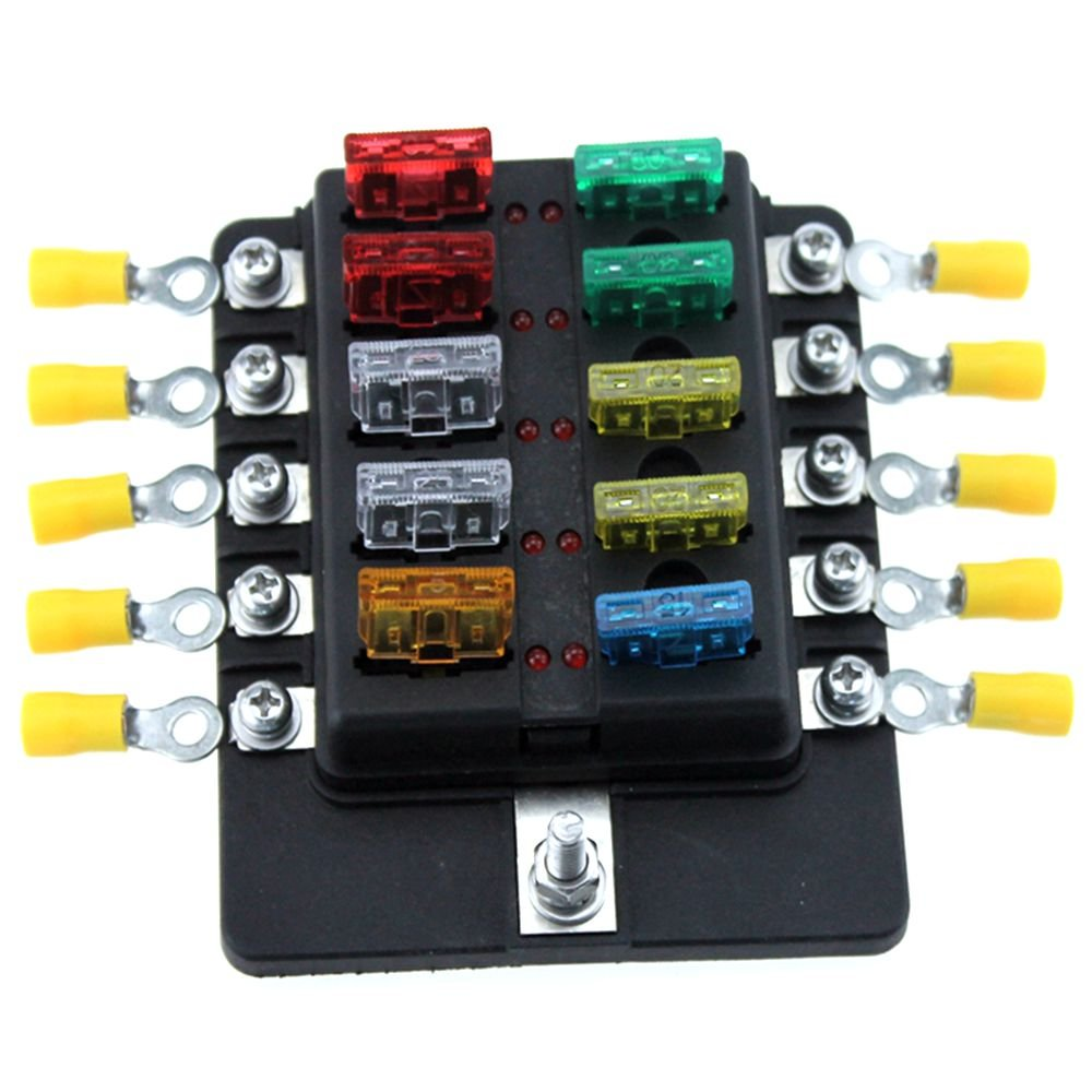 10 Way Blade Fuse Block For Car Truck Boat RV LED Indicator Fuses Box With Terminals Wiring Kits