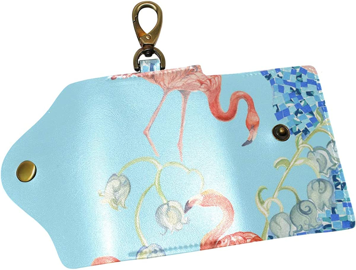 KEAKIA Watercolor Flamingo Leather Key Case Wallets Tri-fold Key Holder Keychains with 6 Hooks 2 Slot Snap Closure for Men Women