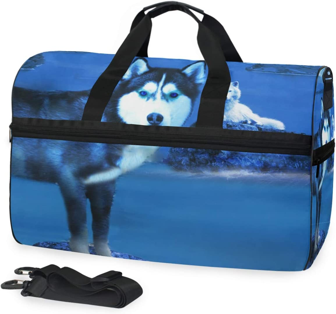 Cute Wolf And Husky Sports Gym Bag with Shoes Compartment Travel Duffel Bag for Men and Women