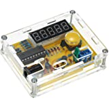 KKmoon DIY 周波数テスターキット 1Hz〜50MHz LED表示 オシレーターテスター 結晶発振周波数テスター 5つ高精度分解能 自動レンジ変換 クリスタル カウンターメーター 透明ケース付き