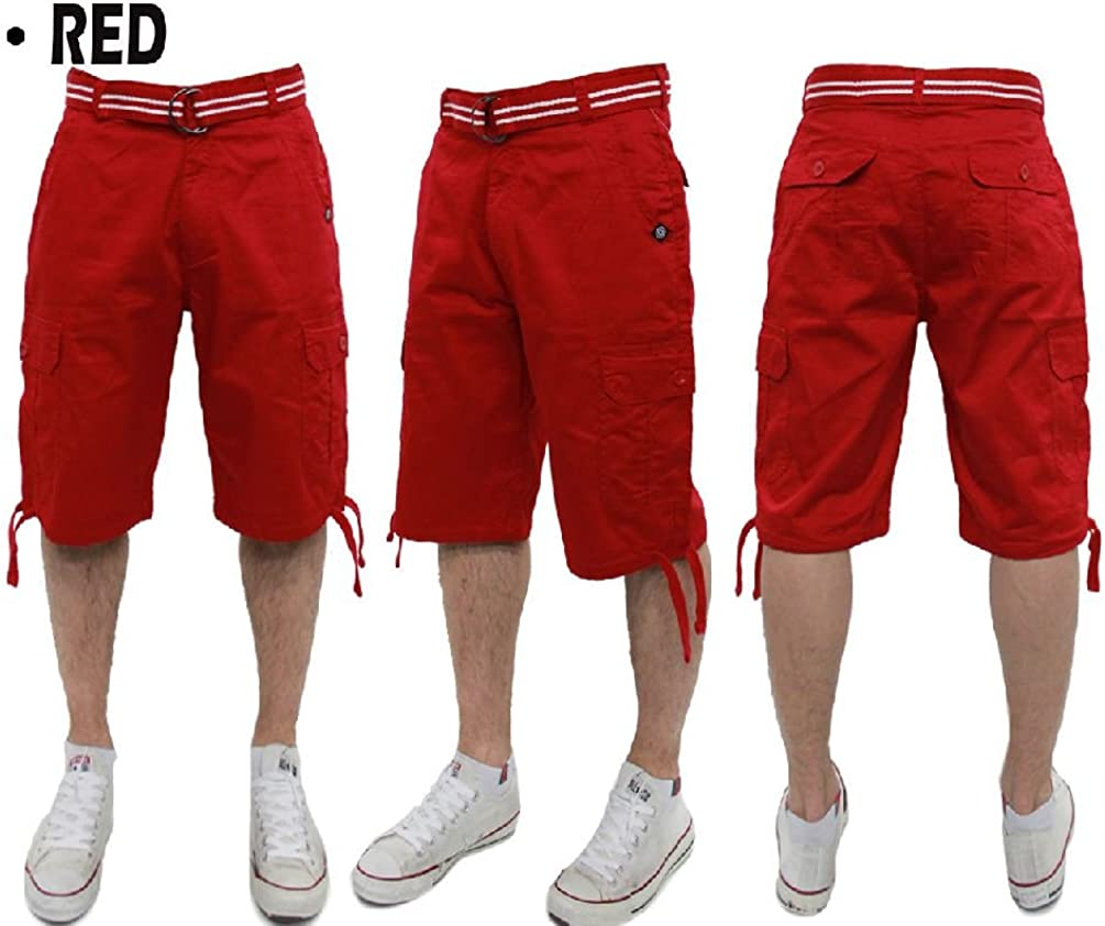 Big and Tall Akademiks Cargo Shorts with Belt Pockets Cotton 44~54 Shoe Solid
