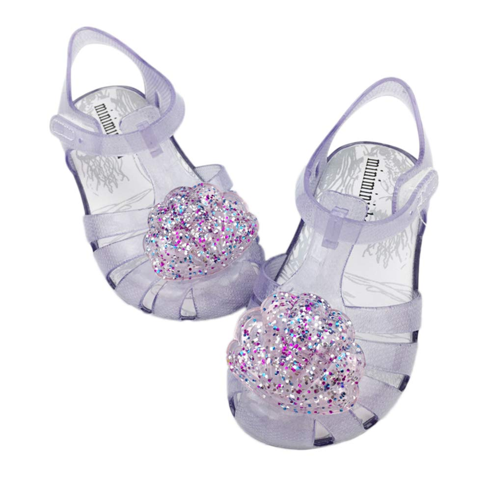 iFANS Girls Sandals Shell Jelly Shoes Mary Jane Beach Flats for Toddler