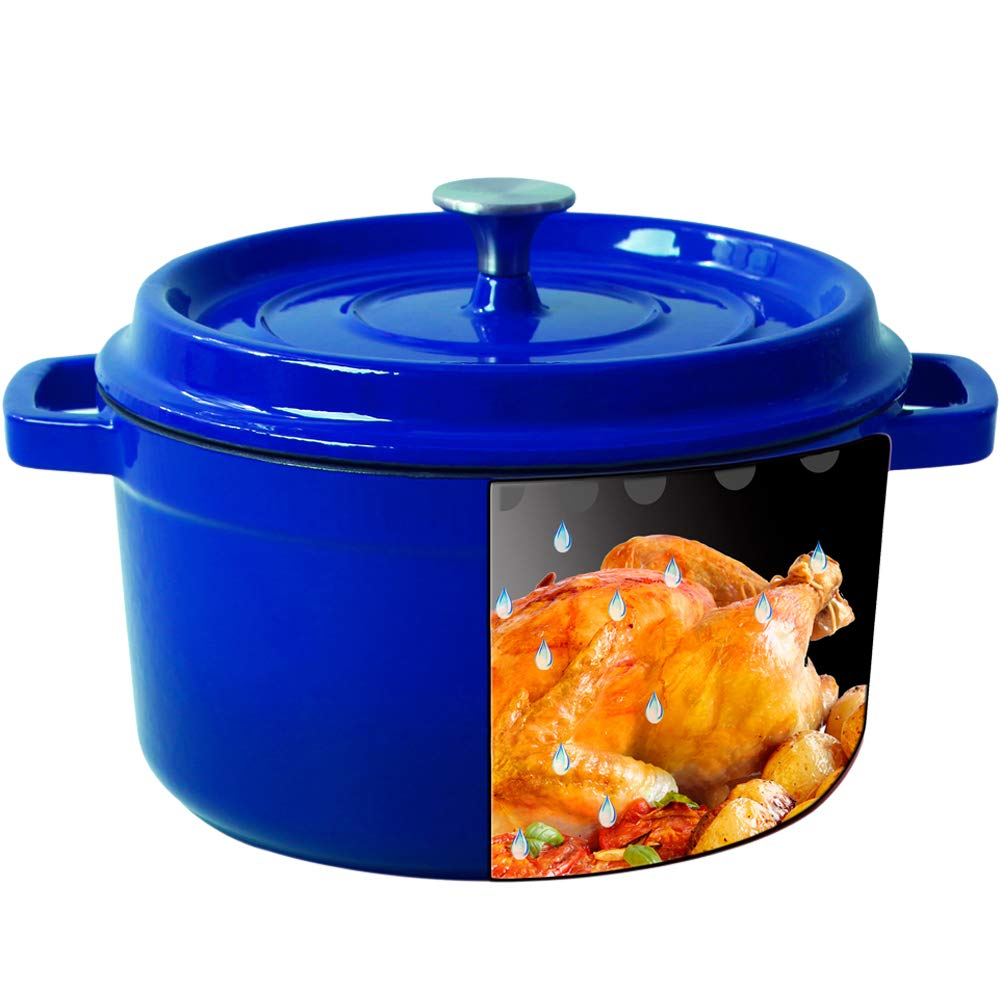 Enameled Cast Iron Dutch Oven - Blue Color 3.2-QT SGS Certified Energy Efficient and eco-friendly(Blue,3.2QT)