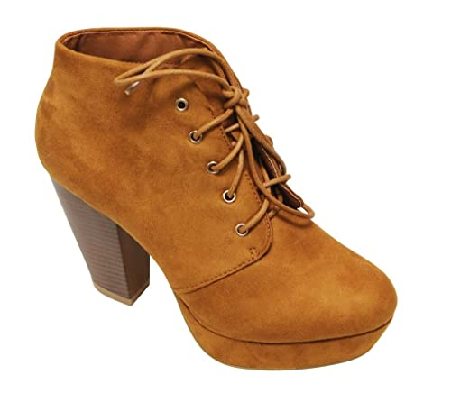 Goldie-21 Women's almond toe platform lace up chunky heel ankle high suede booties