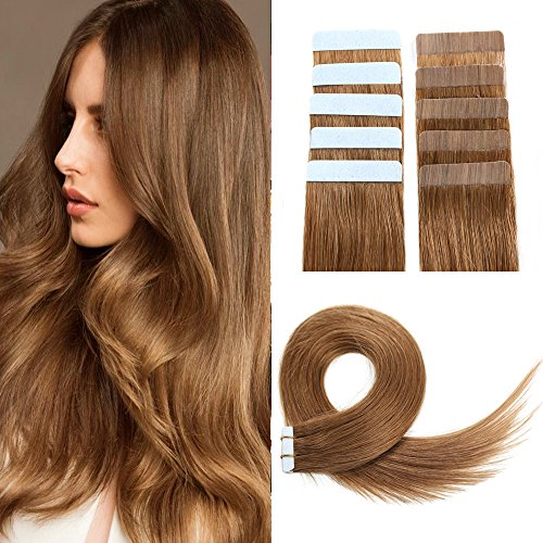 Tape in Hair Extensions Remy Human Hair 18inch 50g 20pcs Straight Seamless Skin Weft Tape Hair Extensions(18inch, 8# Light Brown)]()