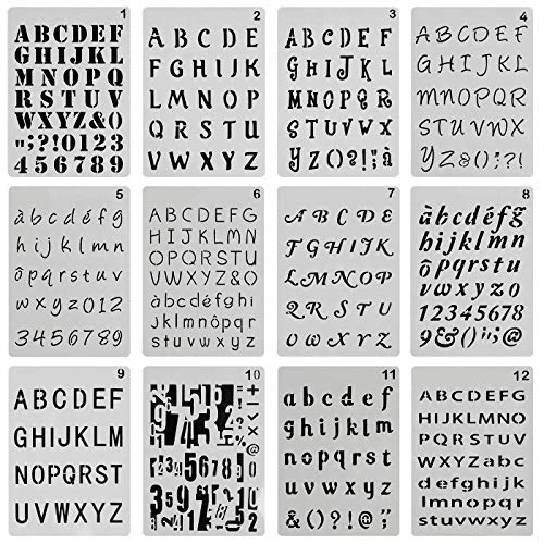 ONEST 12 Pack Letter and Number Stencils Alphabet Stencil Journal/Notebook/Diary/Scrapbook DIY Drawing Template Stencil, 4x7 ()