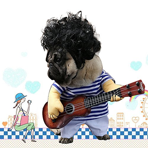 LUCKSTAR Pet Guitar Costume - Dog Costume Funny Cat Clothes Dogs Cats Super Funny Crazy Guitarist Style Pet Clothes Best Gift for Halloween Christmas Birthday Cosplay Party Weekend Parties (M) -