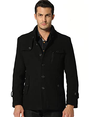 SSLR Men's Single Breasted Flannel Lined Wool Pea Coat (Large ...