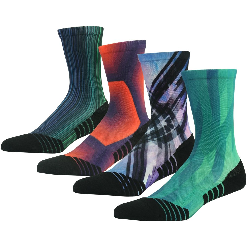 HUSO Unisex Fashion Digital Printing Sports Crew Hiking Socks 3 4 7 Pairs